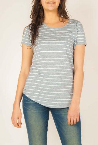grijs met wit gestreept t-shirt met borstzakje  w-js019