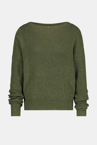 groene fijngebreide merino wolmix trui met rib dessin w20b094