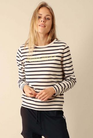 gestreepte sweater met geel geborduurd logo w20f796lab