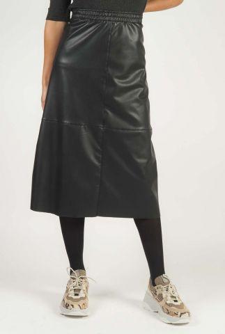zwarte faux leather midi rok met elastische taille band w20f833