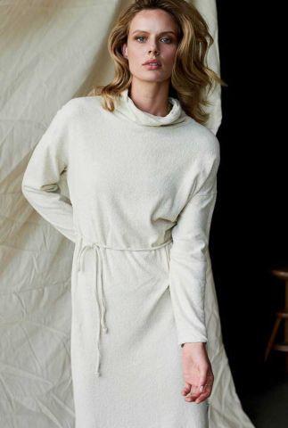 off-white zachte maxi jurk van linnenmix met ceintuur w20f838