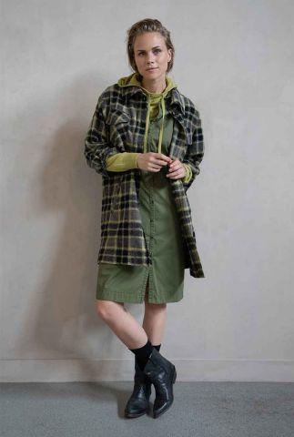 half lange groene blazer met klassieke kraag en ruit dessin w20n788