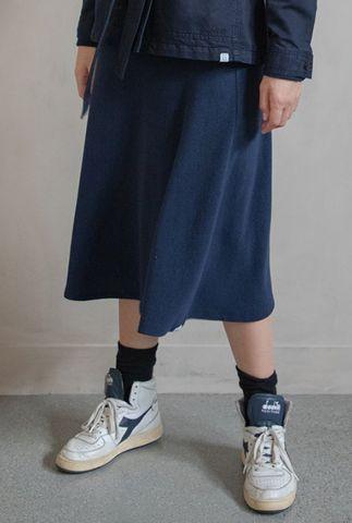 donkerblauwe rok met elastische tailleband w20n853
