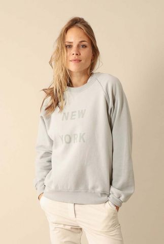 licht grijze sweater met new york opdruk w20t440lab