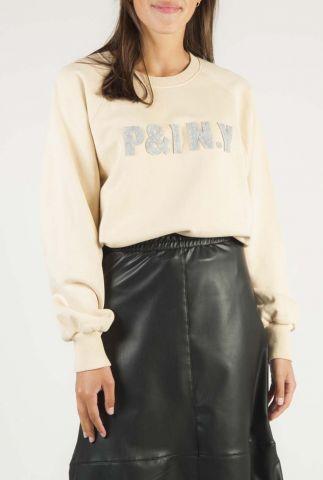 beige sweater met zacht grijs logo opdruk w20t469