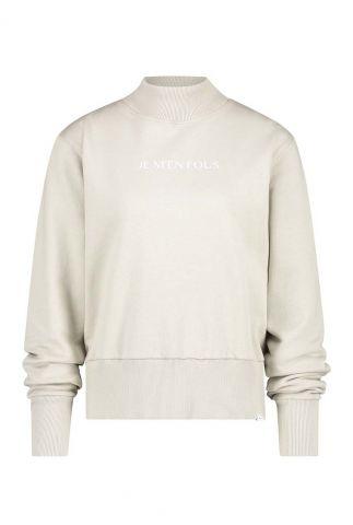 crème kleurige trui met brede boorden w20t470