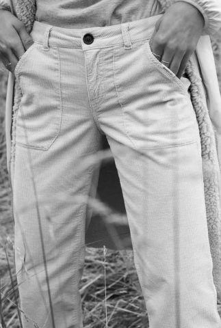 zachte katoenen broek met straight fit en rib dessin w20w276