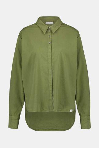luchtige katoenmix blouse met langer achterpand w20w288