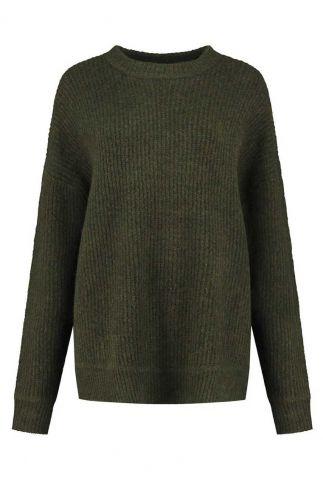 donker groene gemêleerde trui met oversized fit rosa knit w21.122.3456