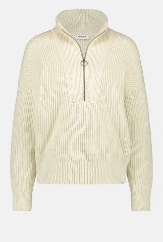 creme kleurige rib gebreide trui met ritssluiting w21b123