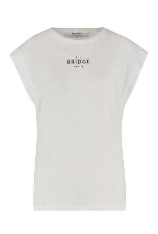 crème kleurig t-shirt met tekst opdruk w21t631lab
