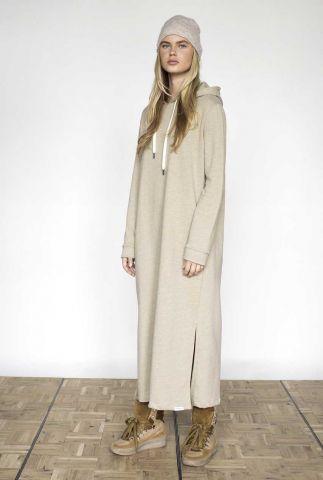 boxy beige maxi sweat jurk met capuchon w21t648