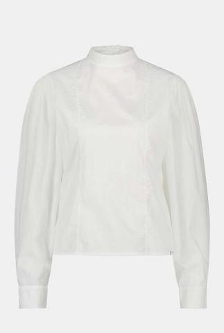 witte katoenen blouse met hoge hals en keyhole detail w21t657