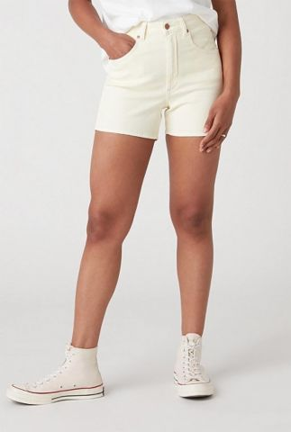 licht gele high waist denim short mom short W22DMH29S