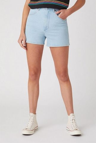 licht blauwe high waist denim short mom short W22DZH25E