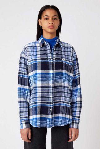 blauw met wit geruite blouse western check shirt W5N52VXTO