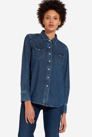 donkere denim blouse van katoen met lichte knopen w5ws1w106