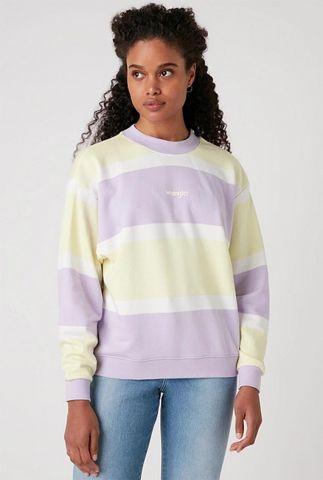 lila geel gestreepte sweater met logo retro sweater W6N0HAP26
