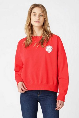 rode sweater met witte zon opdruk relaxed sweatshirt W6V0H1XJR
