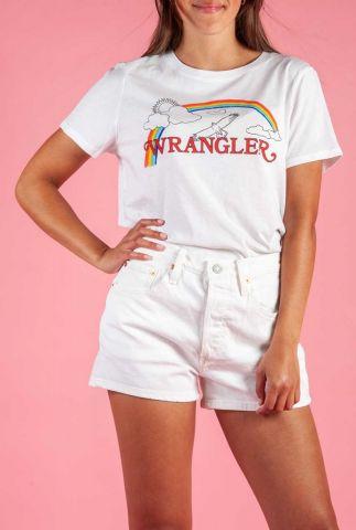 wit t-shirt met logo opdruk en regenboog w7n4evxw2