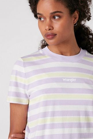 lila gestreept t-shirt met logo regular rib tee W7N9GHP26