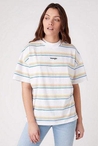 wit t-shirt met gestreept dessin girlfriend tee W7Q9GHX12