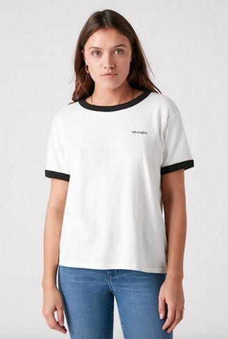 wit t-shirt met zwart logo relaxed ringer tee W7S0DRXV6