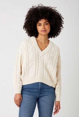 crème kleurige trui met ingebreide kabel v-neck cable knit W8P5Q2C03