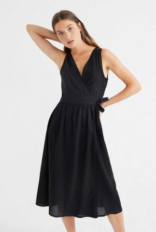 zwarte mouwloze jurk met overslag amapola wdr00078