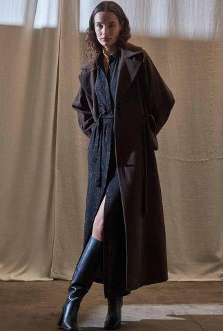 donkerbruine mantel jas met ceintuur dosilia coat