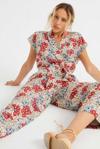 jumpsuit met korte mouw en bloemen dessin malawi wjs00043