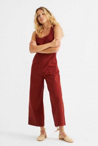 donkerrode mouwloze culotte jumpsuit teja rafflesia wjs00046