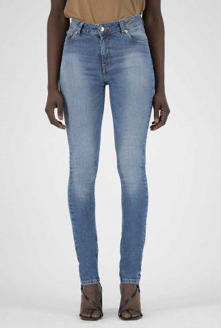 blauwe mid waist skinny jeans sk hazen fan stone