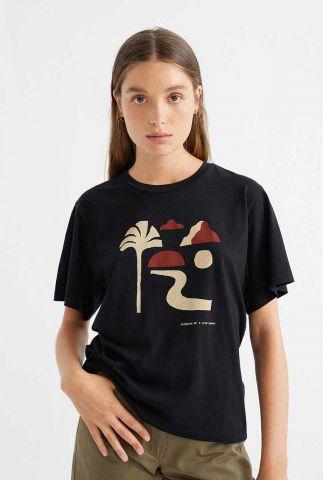 overszied zwart t-shirt met opdruk oasis t-shirt wts00202