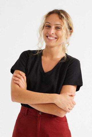 zwart basis t-shirt met v-hals cavel t-shirt wts00208