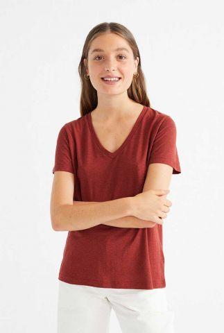 donker rood basis t-shirt met v-hals wts00211 clavel