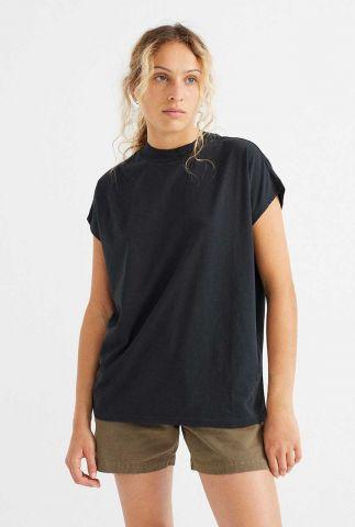 zwart oversized t-shirt met hoge hals black volta t-shirt wts00225