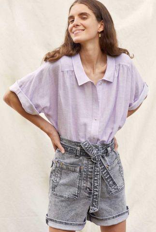 oversized lila blouse met korte mouw ambroggio