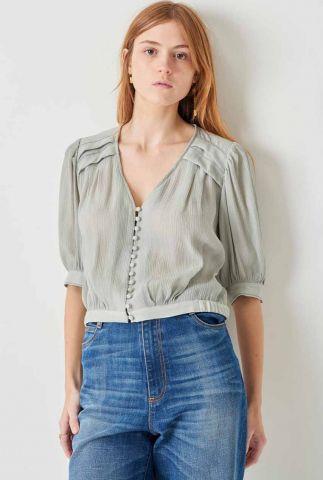 lichtblauwe cropped blouse met 3/4 ballonmouwen en plooi detail harrow