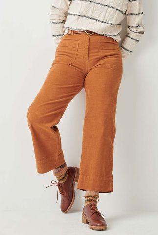 oranje corduroy broek met wijde broekspijpen hudson street