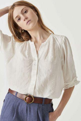 witte jacquard blouse met 3/4 mouwen en ajour details kimia