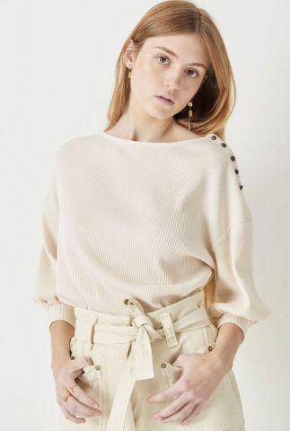 creme kleurige trui met 3/4 mouwen en knoop detail kituba