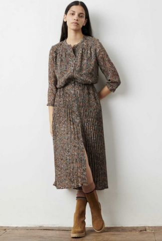 jurk met all-over print en plissé rok painterly