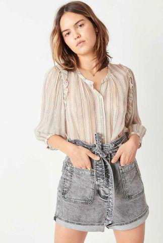 ecru kleurige blouse met streep dessin en ruche details pearl song