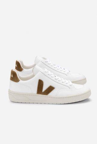 witte sneaker met suède logo V-12 white camel XD022322