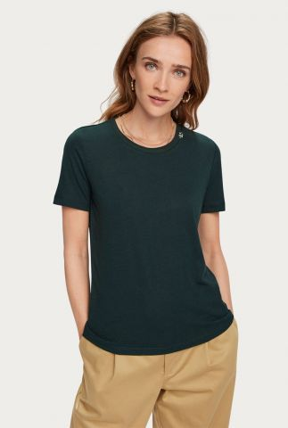 linnen basis t-shirt met geborduurd logo 157063
