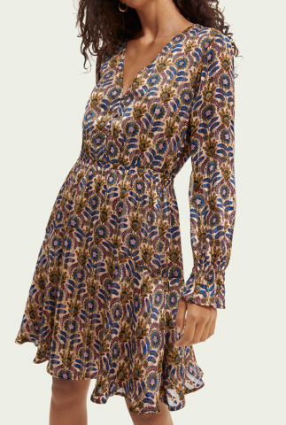 midi a-lijn jurk met bloemen dessin en v-hals 163853
