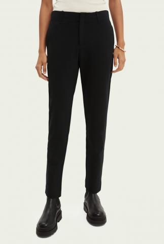 zwarte viscosemix pantalon met slim fit 165780