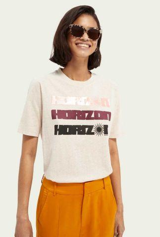 off-white t-shirt van bio katoen met opdruk horizon 161711