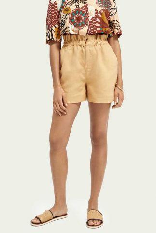 beige linnen paperbag short met ritssluiting 161596